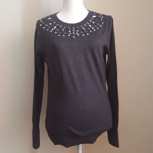 A new Day Gray Jeweled Sweater Size M